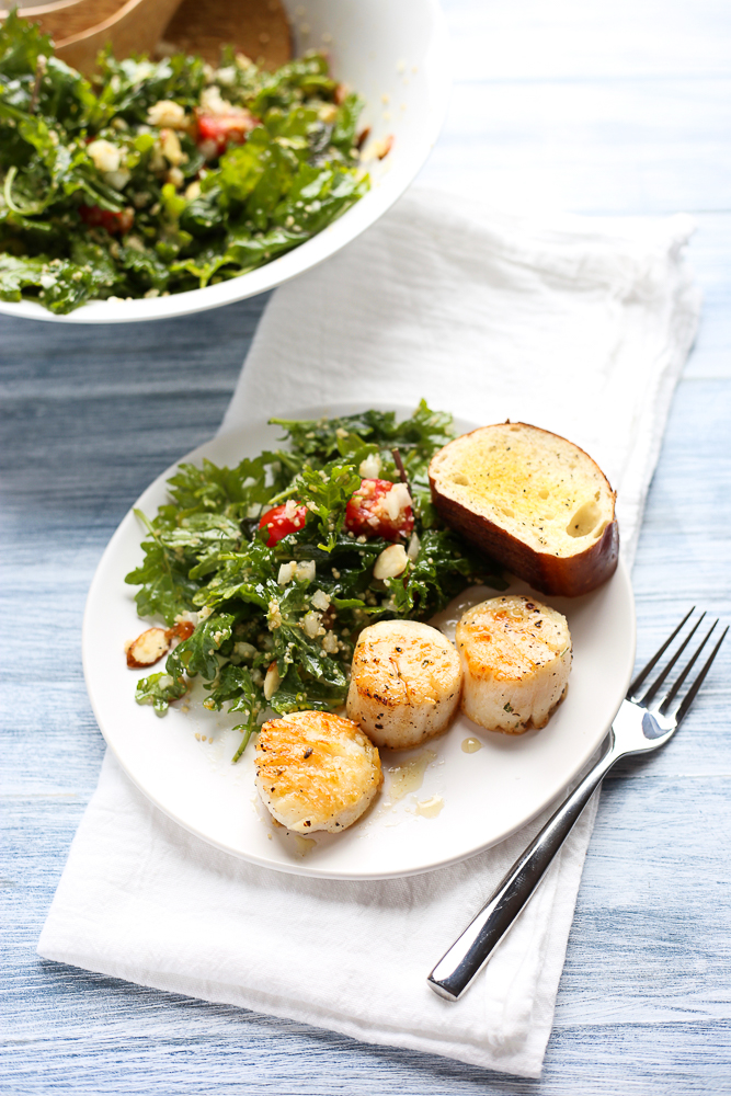 simple kale and couscous salad with apricot vinaigrette and sea scallops