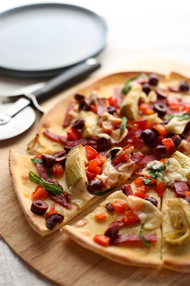 mediterranean pizza with thin pizzeria-style crust