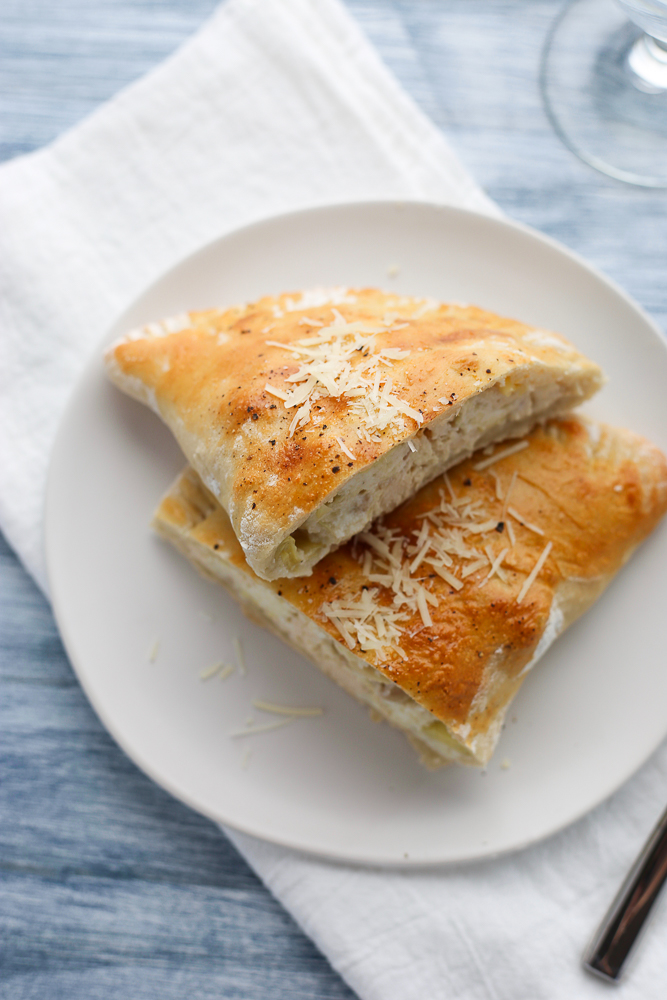 chicken, artichoke, and 3 cheese calzones