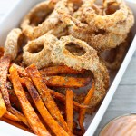 Skinny Onion Rings and Sweet Potato Fries