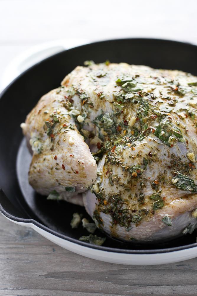easy weeknight garlic butter & herb roast chicken