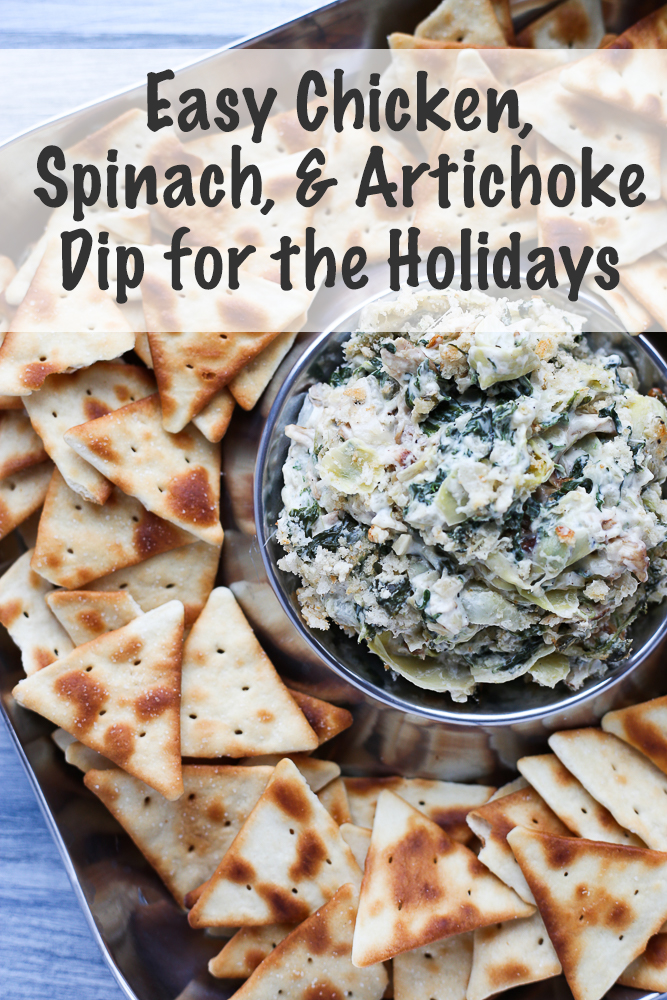 easy chicken, spinach, and artichoke dip