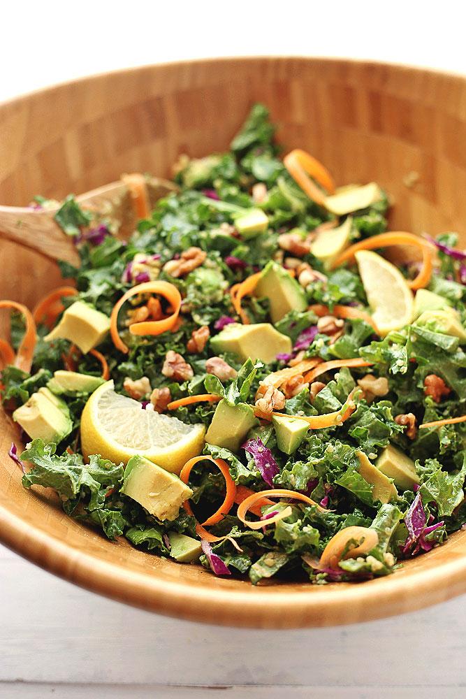 Kale, Carrot, and Cabbage Salad with Avocado Dressing