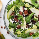 Winter Spinach, Pear, & Pecan Salad with Honey Poppy Seed Dressing