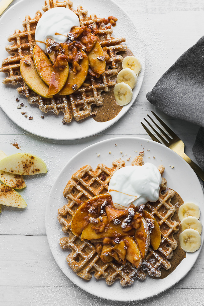 Healthier Waffles with Cinnamon Apple Topping