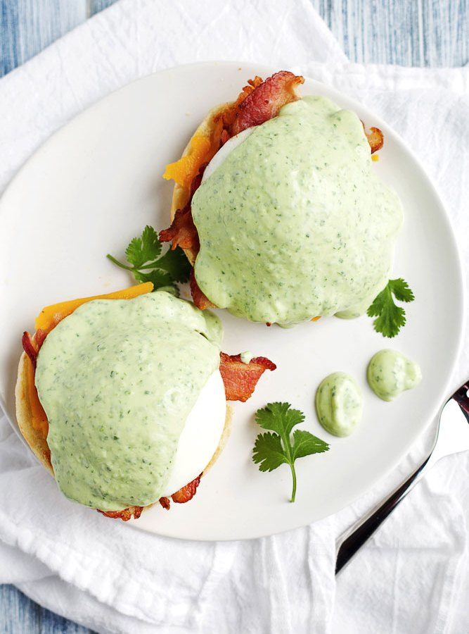 Modern Eggs Benedict with Avocado Sauce