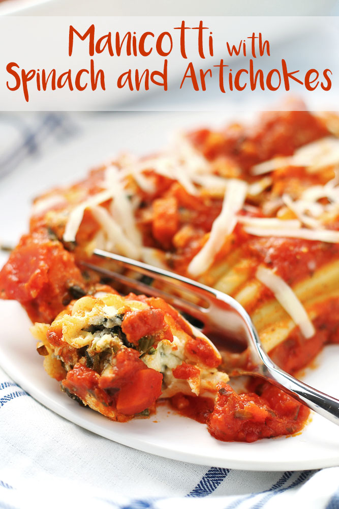 Easy Manicotti with Spinach and Artichokes