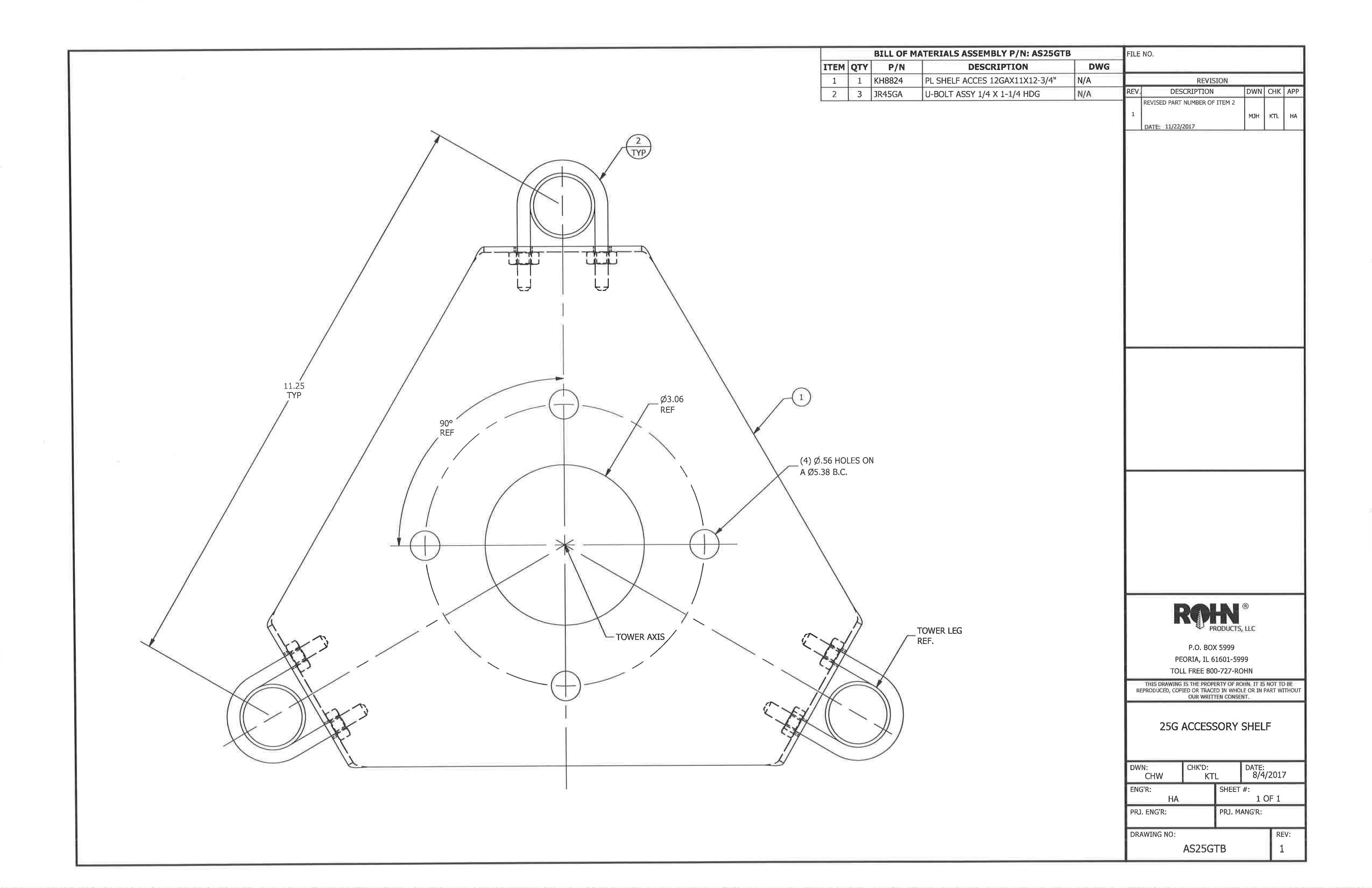 Rohn 25g Thrust Bearing Accessory Shelf As25gtb