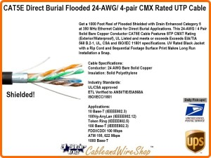 CAT5E Direct Burial Shielded Flooded 24AWG 4pair CMXF