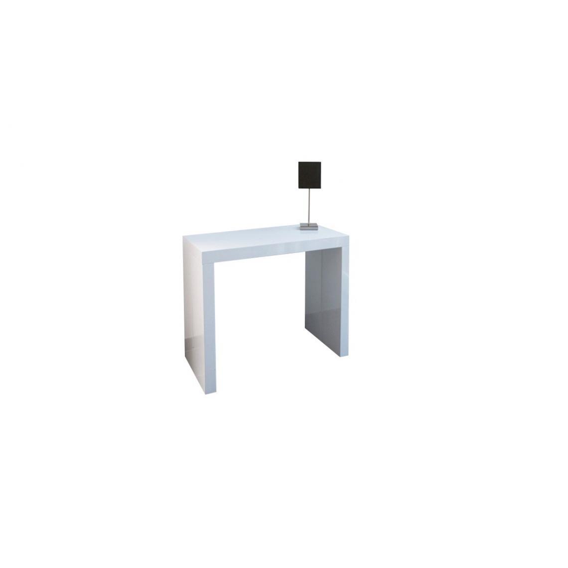 console extensible 225cm blanc laque