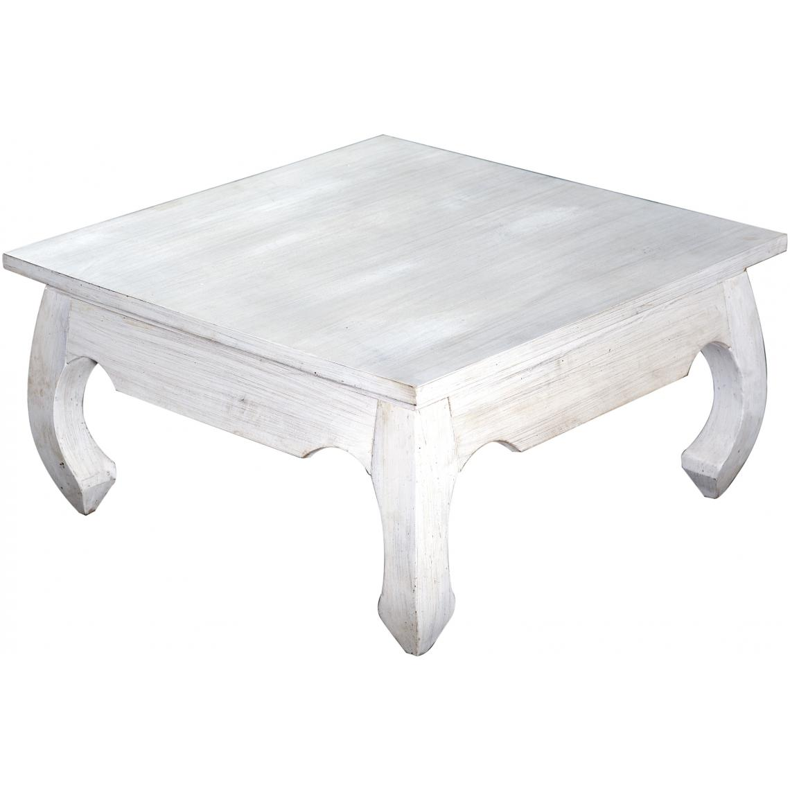 table basse carree en bois blanc
