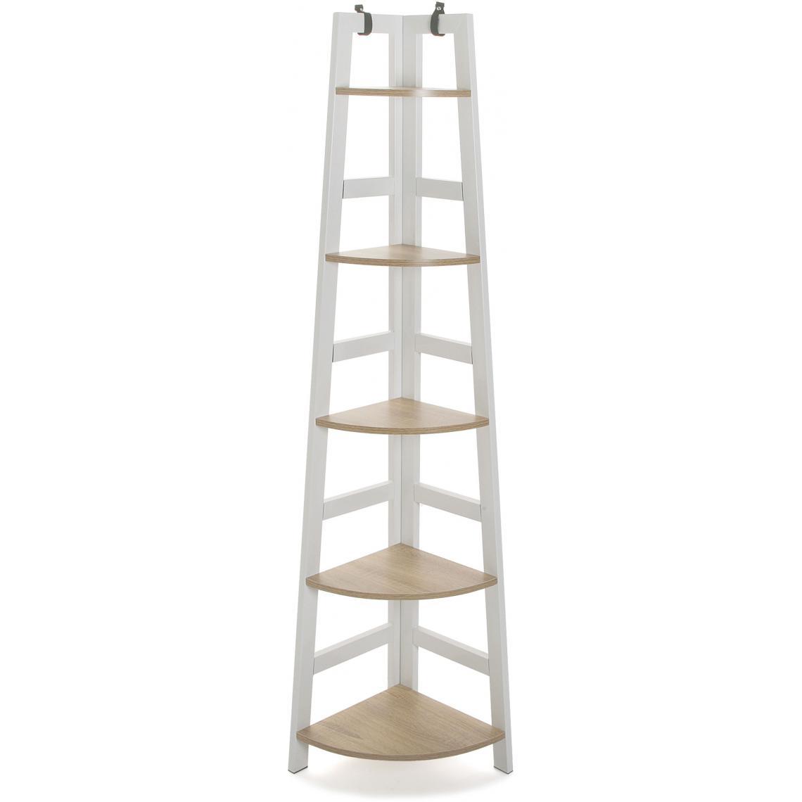 meuble de rangement d angle 5 etageres blanc fay