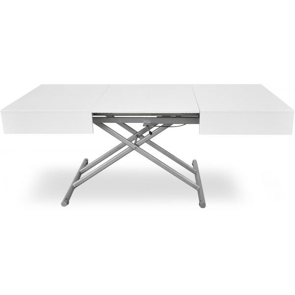 table basse relevable blanc laque cassy