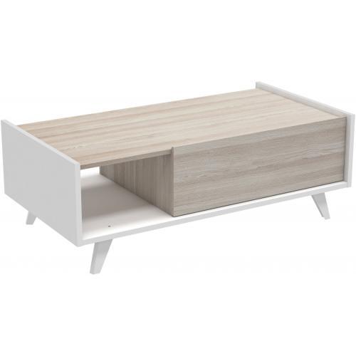 3s x home table basse beige et blanche avec 1 niche et 1 tiroir edwin