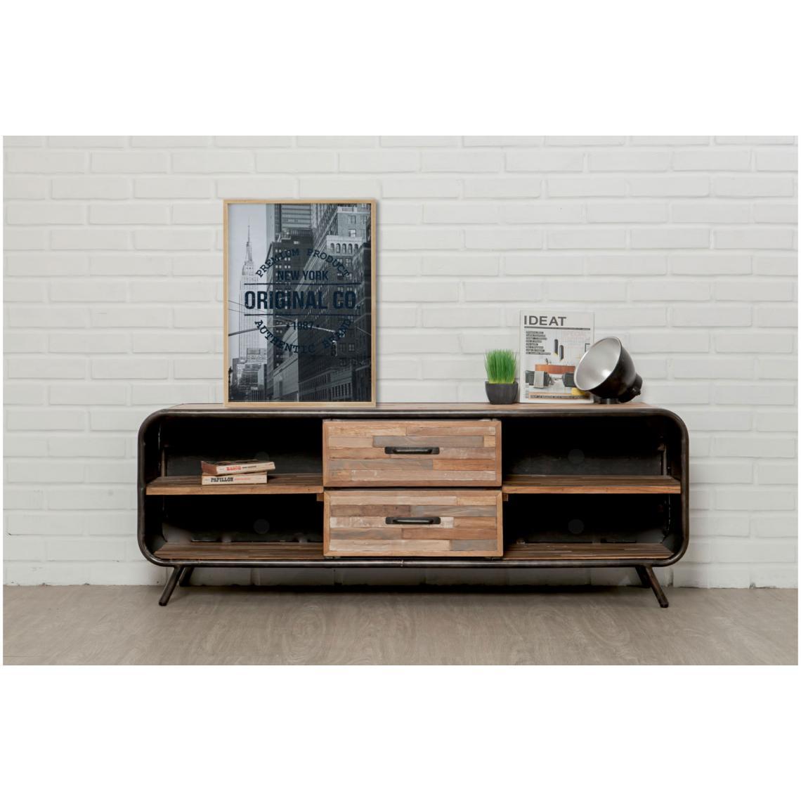 meuble tv avec 2 tiroirs et 4 niches en