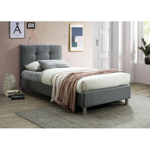 lit gris avec tete de lit capitonnee 90cm nina 3s x home