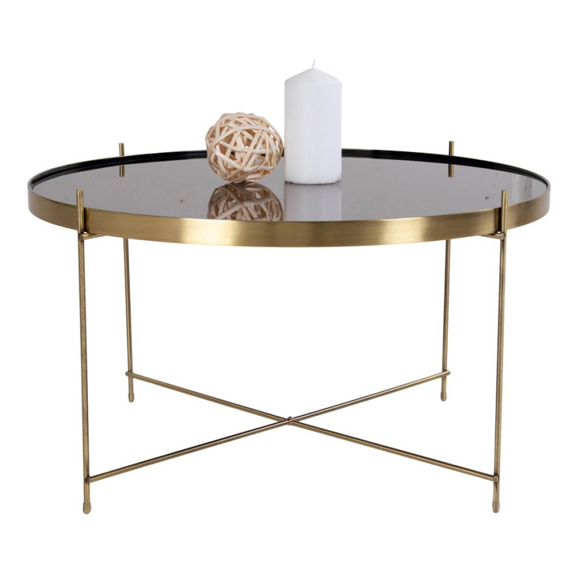 table basse ronde 70 cm en verre et en