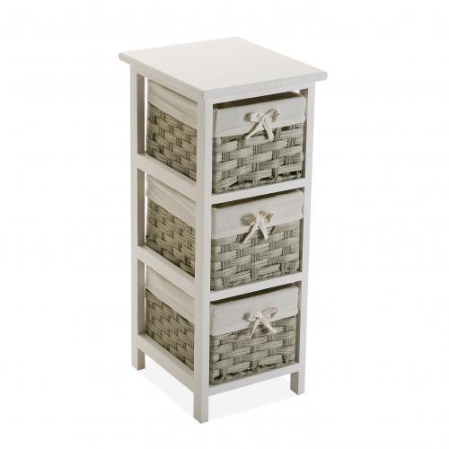meuble de rangement blanc avec 3 paniers imprimes beige balta 3s x home
