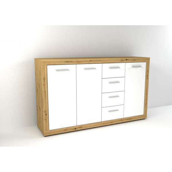 buffet 3 portes et 4 tiroirs chene bois clair et blanc fiola