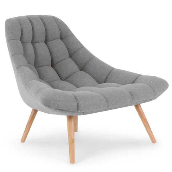 fauteuil scandinave tissu gris folley