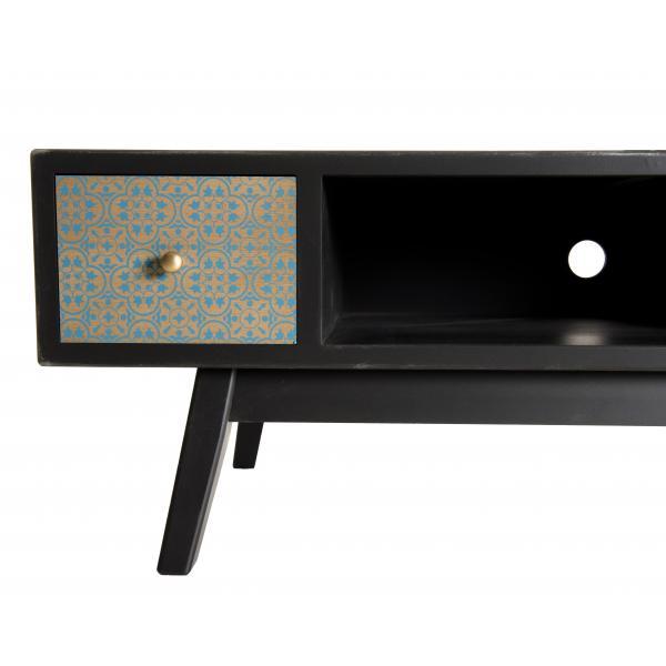 meuble tv 2 tiroirs pin noir mat phom