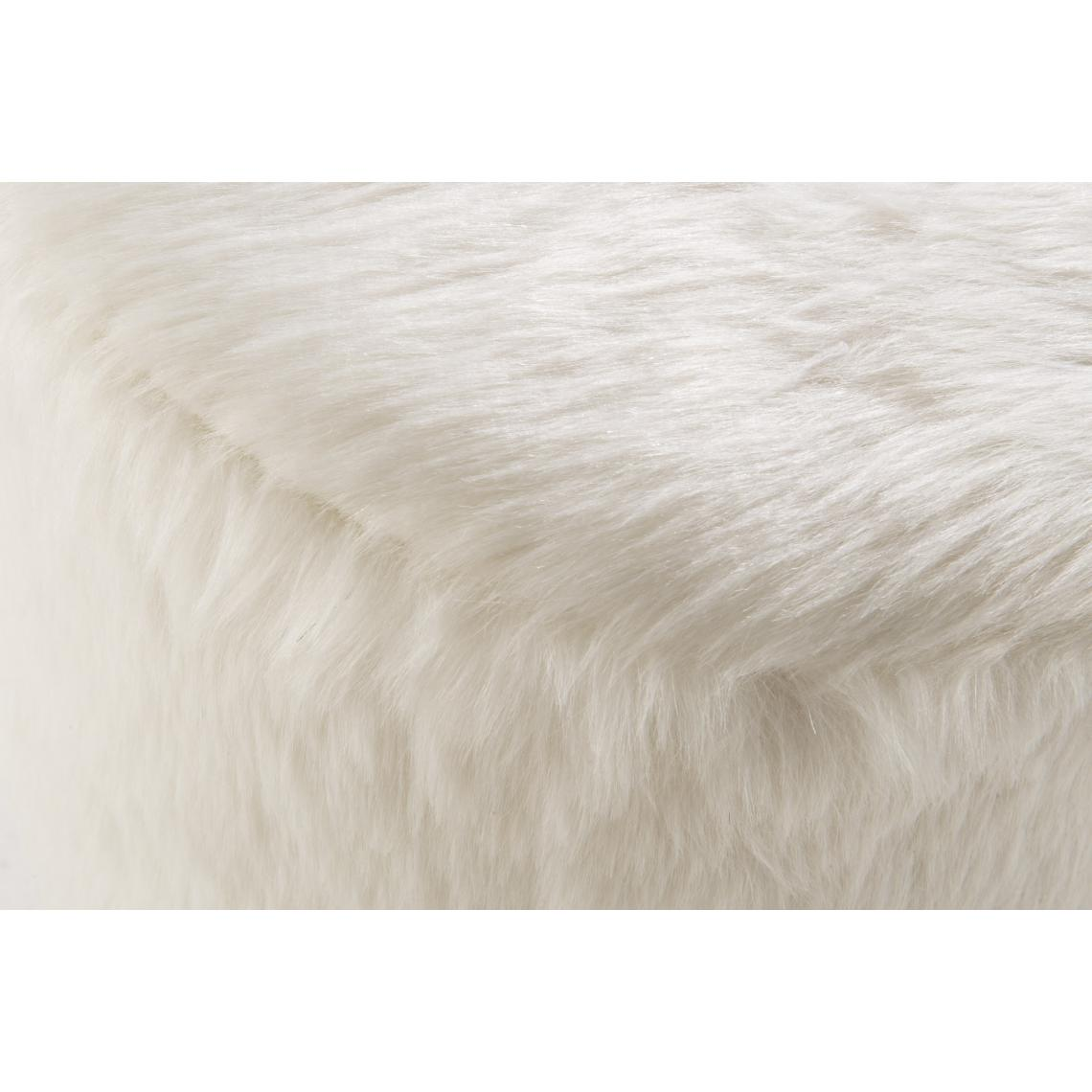 pouf rond fausse fourrure blanc forr