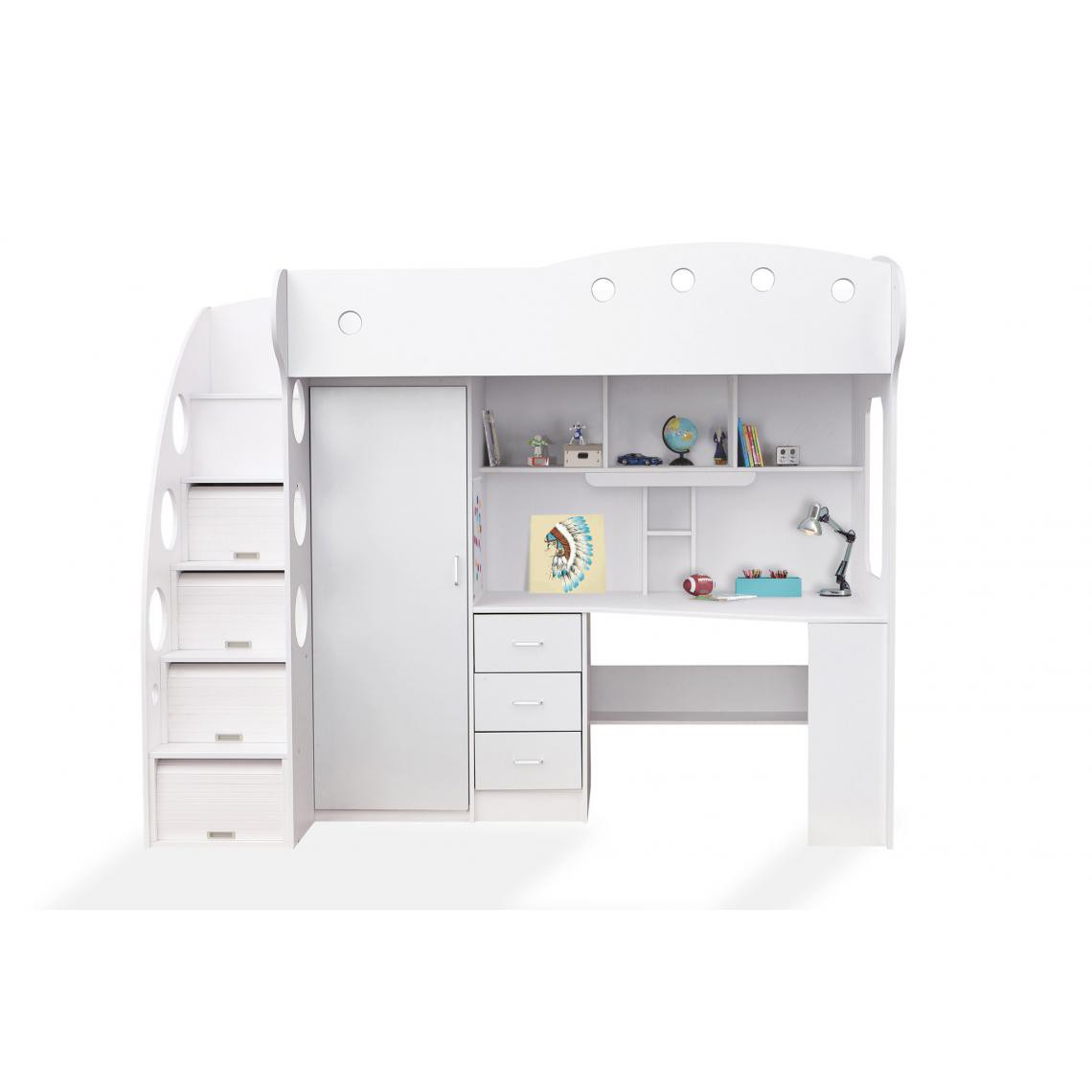 bureau 1 penderie blanc amix