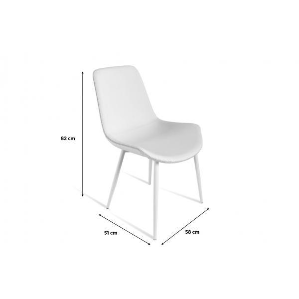 lot de 2 chaises simili cuir blanc juliette