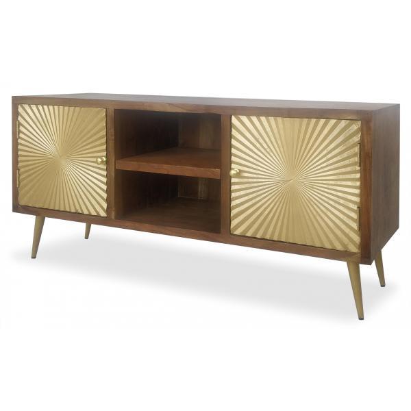 meuble tv bois et or lumina