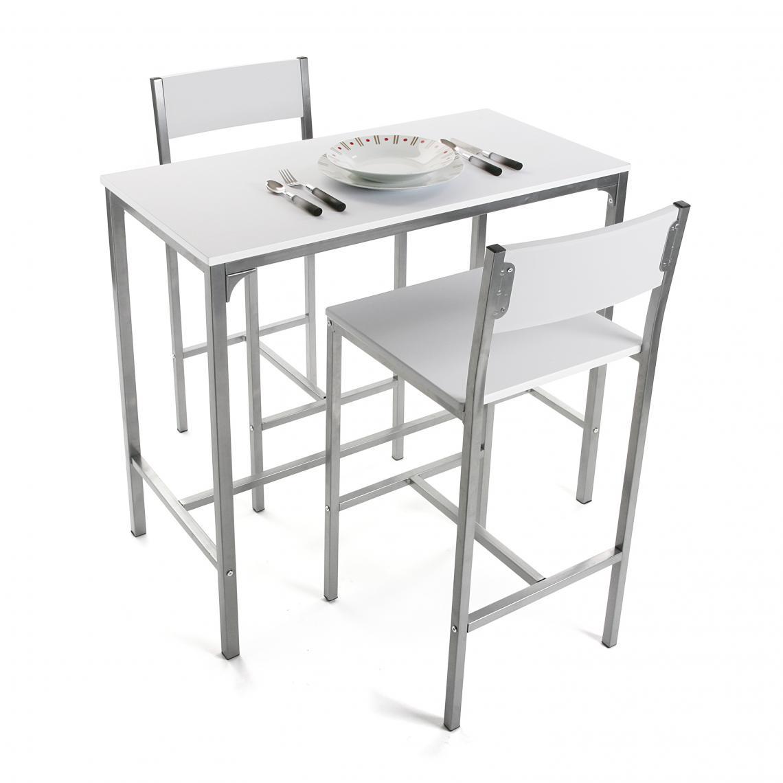 set table haute et 2 chaises blanc