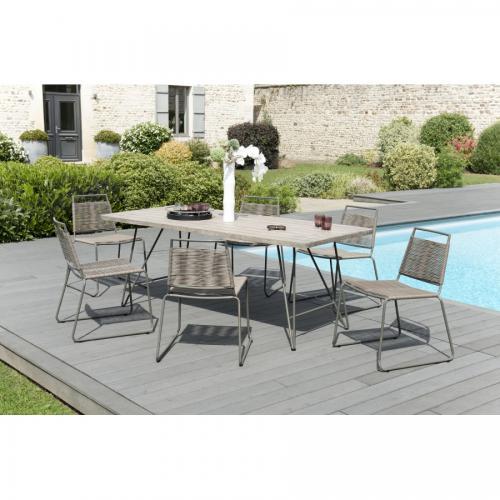 salon de jardin en bois teck grise 6 8 pers ensemble de jardin 1 table rectangulaire 200 90 cm pieds metal et 6 chaises empilables