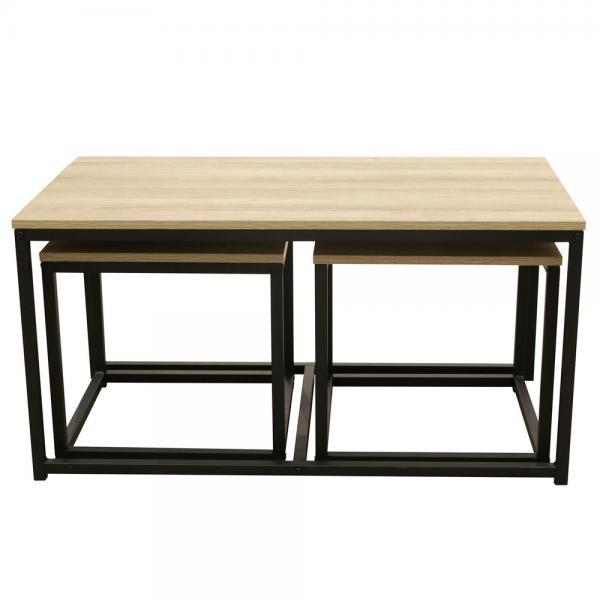 lot de 3 tables basses industrielles memphis