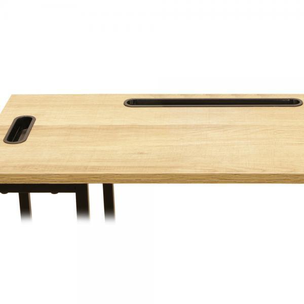 table d appoint avec support tablette bois et metal