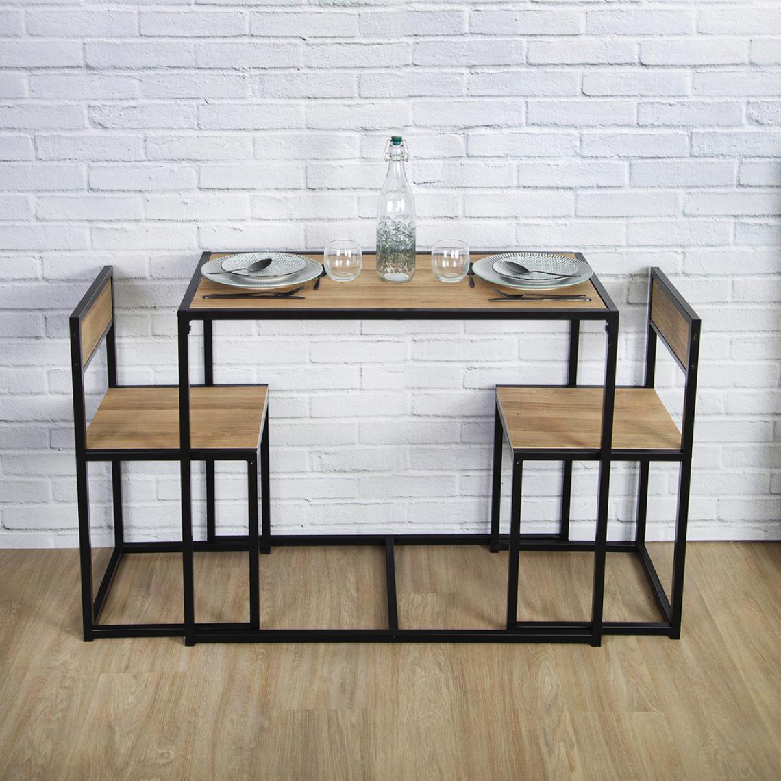 ensemble table 2 chaises noir et bois