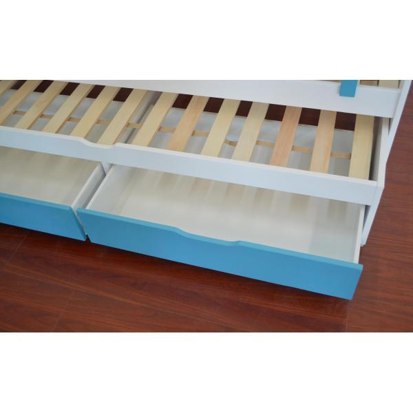 lit gigogne enfant avec sommiers et tiroirs blanc et bleu pica