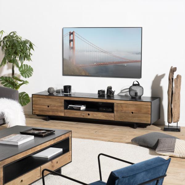 meuble tv 3 tiroirs 1 niche pin recycle danido
