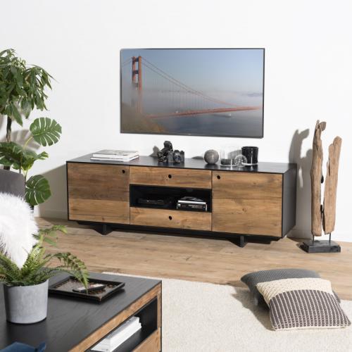 macabane meuble tv 2 portes 2 tiroirs 1 niche pin recycle danido