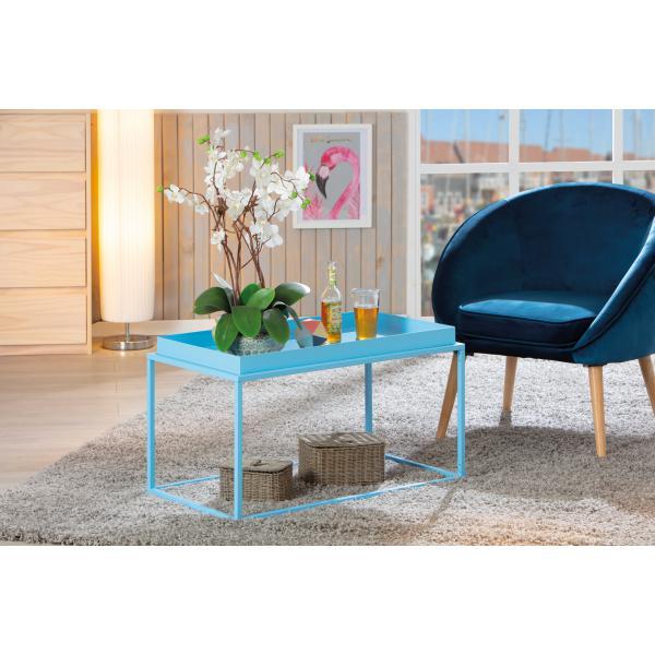 table basse empilable en metal laque bleu calico