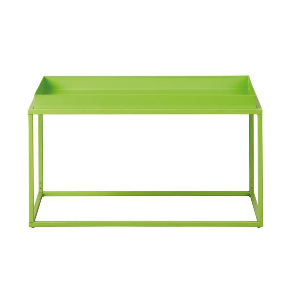table basse empilable en metal laque vert calico