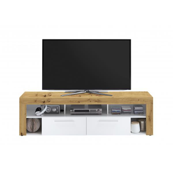 meuble tv large chene et blanc onia