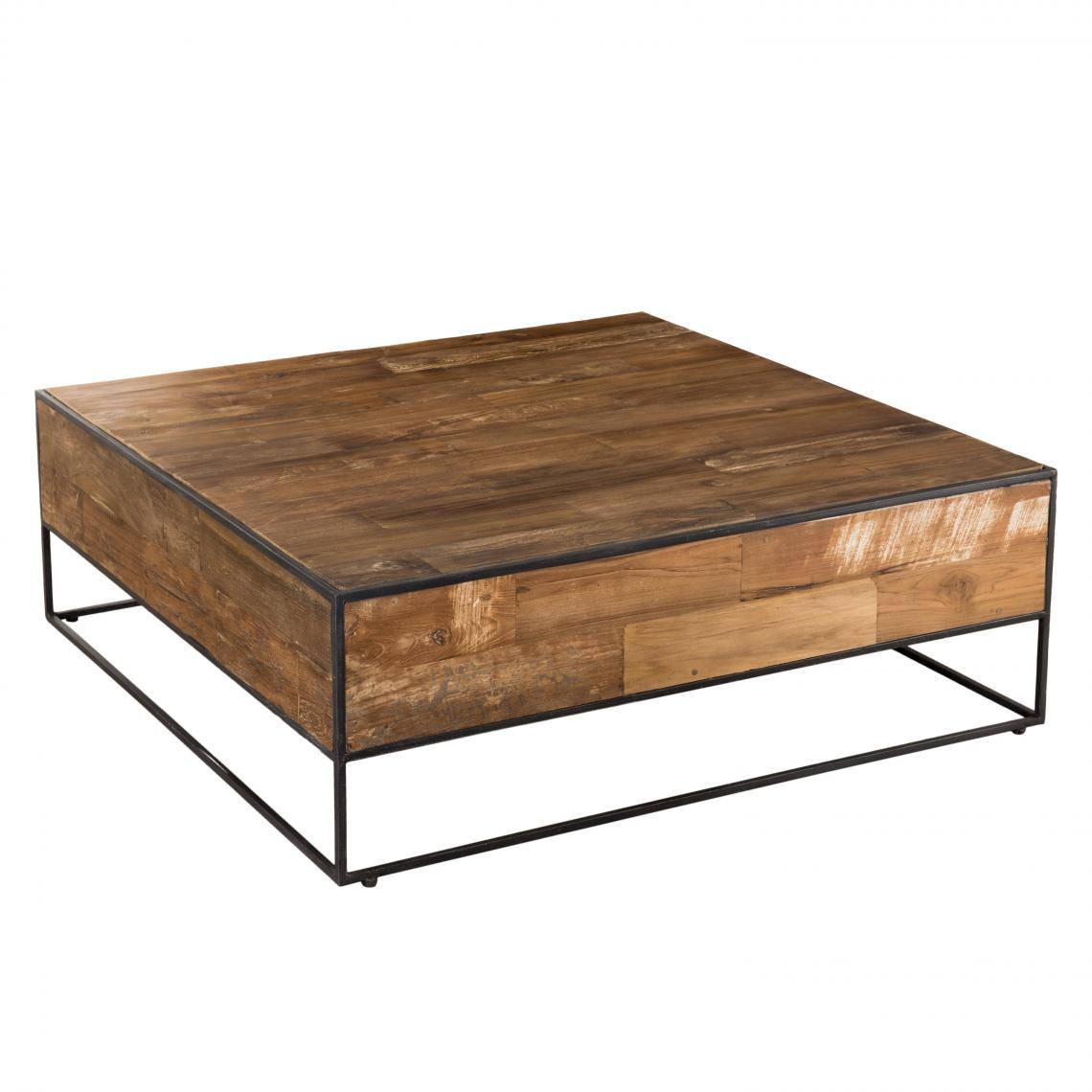table basse carree bois de teck recycle