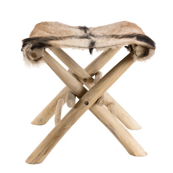 tabouret pliant bois nature teck et peau de chevre zita