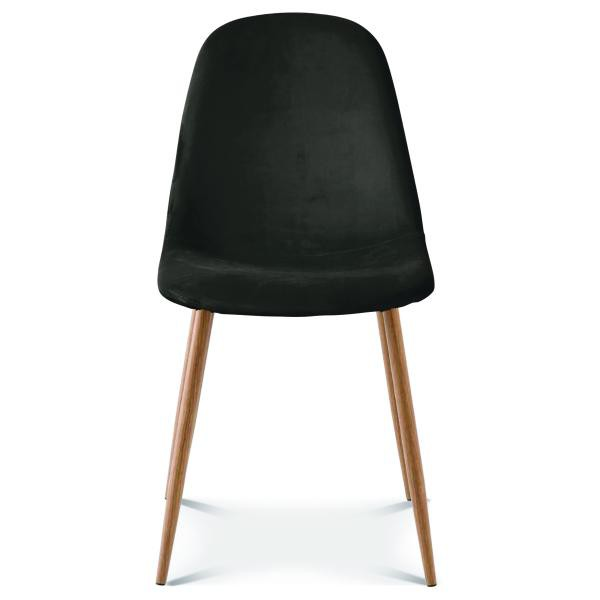chaise pieds bois velours noir soty
