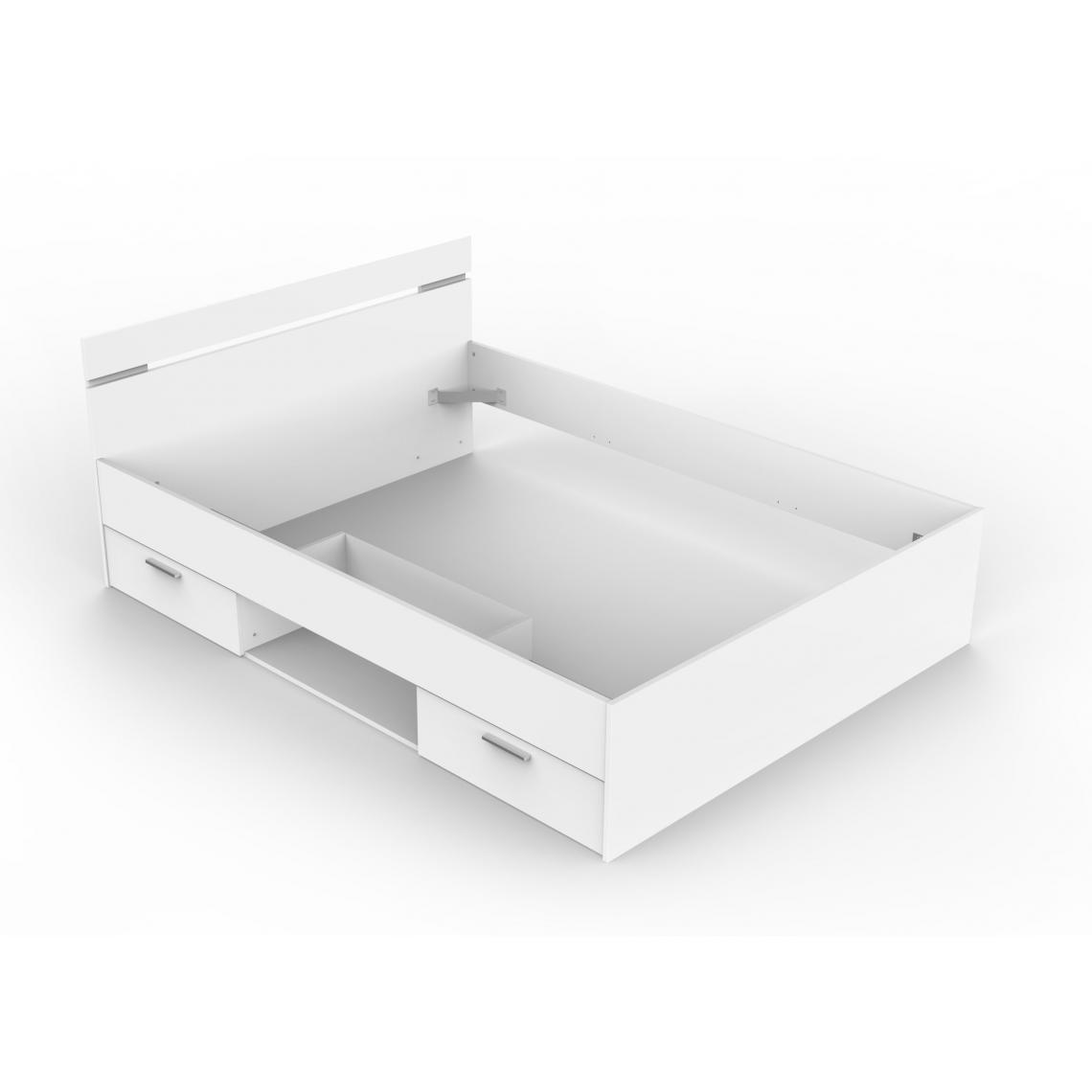 lit 140x190 2 tiroirs 1 niche blanc