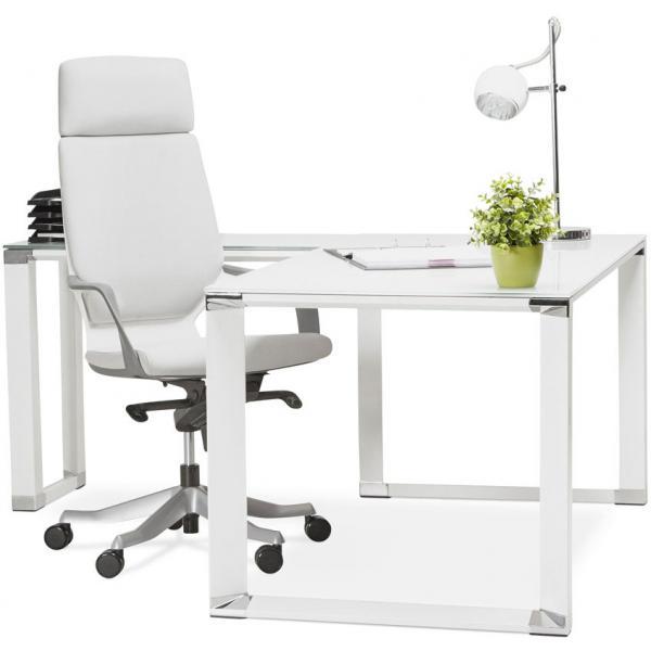 bureau d angle en verre diamond blanc