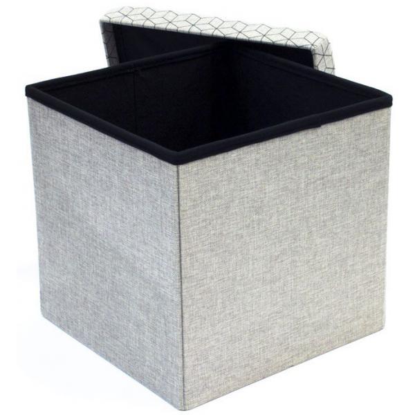 coffre rangement pouf pliable gris clair dotty