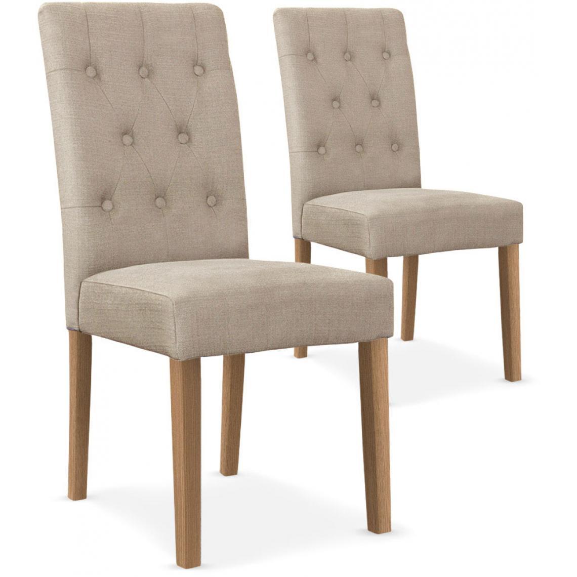 lot de 2 chaises capitonnee tissu beige costa