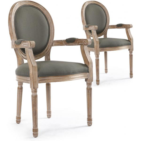 lot de 2 chaises medaillon style louis xvi tissu gris honore