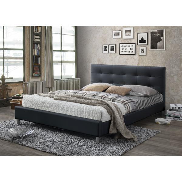 lit noir avec tete de lit capitonnee 160 nala