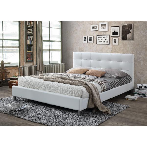 lit blanc avec tete de lit capitonnee 160 nala